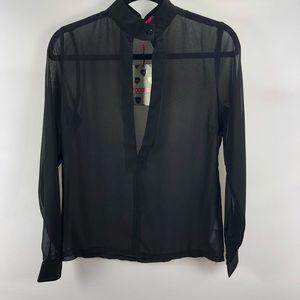 Boohoo black sheer top shirt